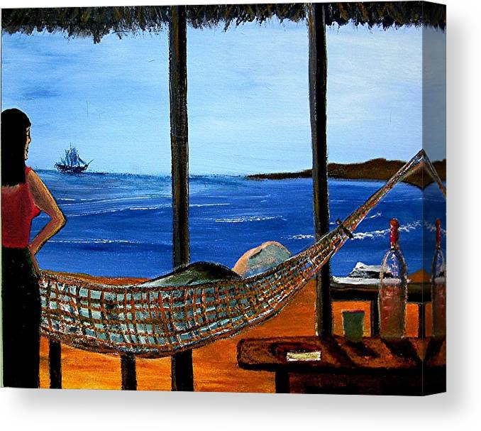 Beach Canvas Print featuring the painting He Said He Was Dreaming... by Richard Hubal