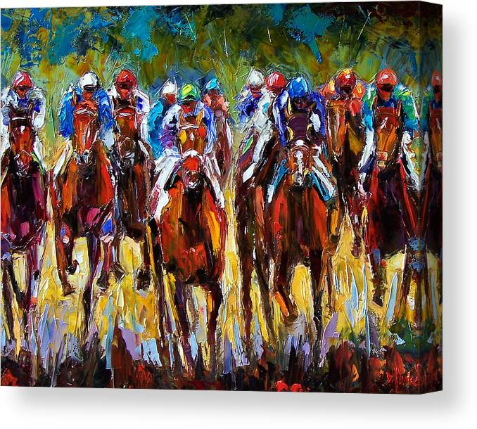 Equestrian Canvas Print featuring the painting Heated Race by Debra Hurd