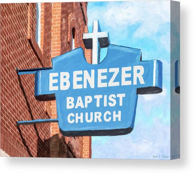 Atlanta Canvas Print featuring the mixed media Historic Ebenezer Baptist Church - Sweet Auburn by Mark Tisdale