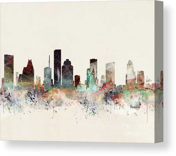 Houston Canvas Print featuring the painting Houston Texas Skyline by Bri Buckley