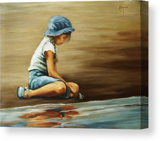 Girl Canvas Print featuring the painting In Her World... by Natalia Tejera