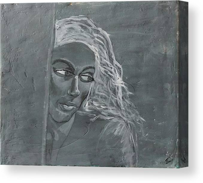 Women Canvas Print featuring the painting In The Moon Light by J Bauer