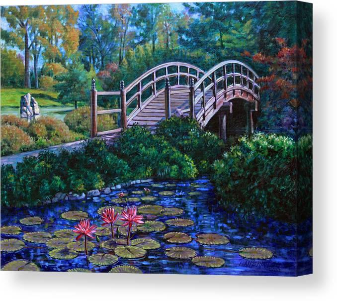 Japanese Bridge Canvas Print featuring the painting Japanese Garden Bridge by John Lautermilch