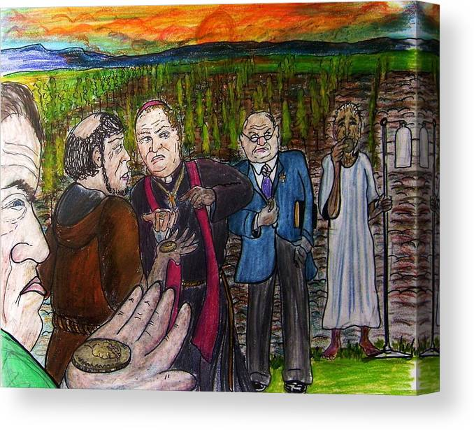 Envy Canvas Print featuring the drawing Jealous Men by Richard Hubal