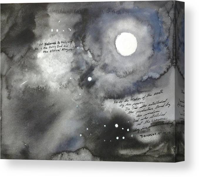 Watercolor Canvas Print featuring the painting Jehovah Stretched Out the Heavens by B L Qualls