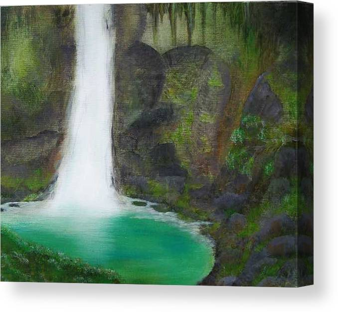 Waterfall Canvas Print featuring the painting Juana Falls by Tony Rodriguez