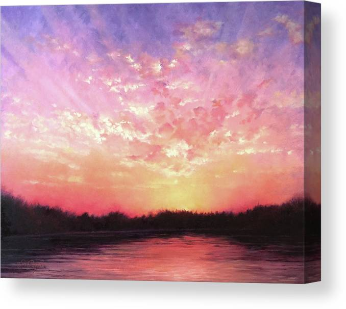 Landscape Canvas Print featuring the painting Lake Sunset by Teri Rosario