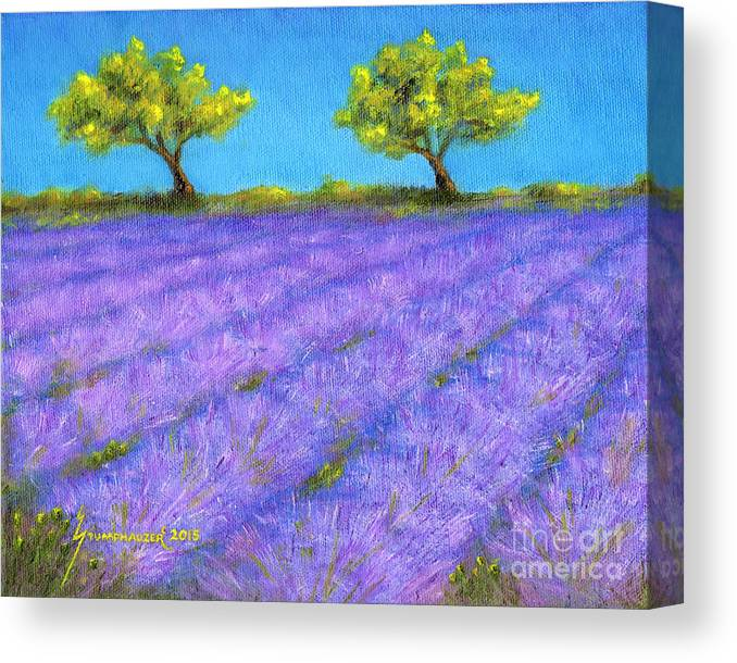 Lavender Canvas Print featuring the painting Lavender Field With Twin Oaks by Jerome Stumphauzer