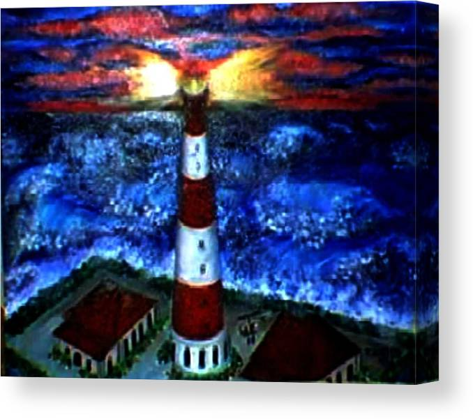 Lighthouse Canvas Print featuring the print Light in the Storm by Tanna Lee M Wells
