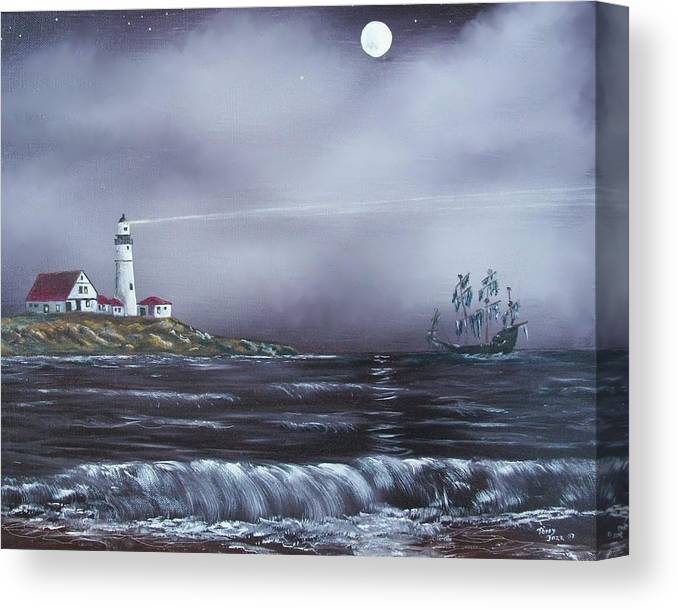 Seascape Canvas Print featuring the painting Lighthouse by Tony Rodriguez