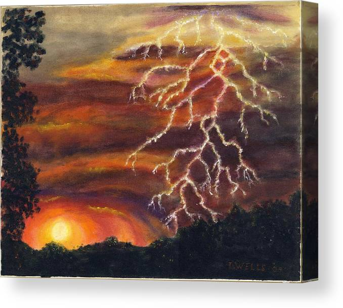 Lightning At Sunset Painted In Vibrant Colors Canvas Print featuring the painting Lightning at Sunset by Tanna Lee M Wells