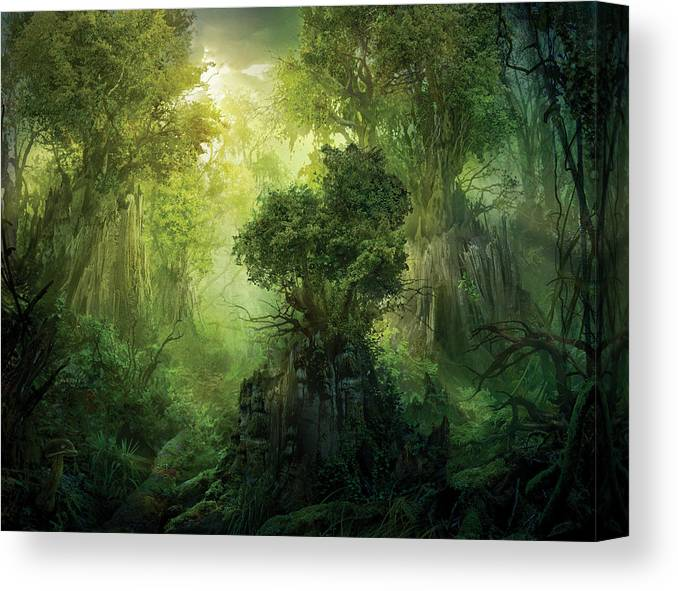 Landscape Canvas Print featuring the painting Llanowar Reborn by Philip Straub