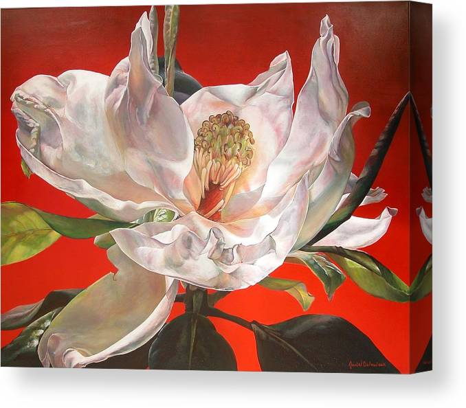 Floral Painting Canvas Print featuring the painting Magnolia by Muriel Dolemieux