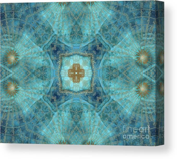 Wind Rose Canvas Print featuring the digital art Mandala wind rose by Justyna Jaszke JBJart