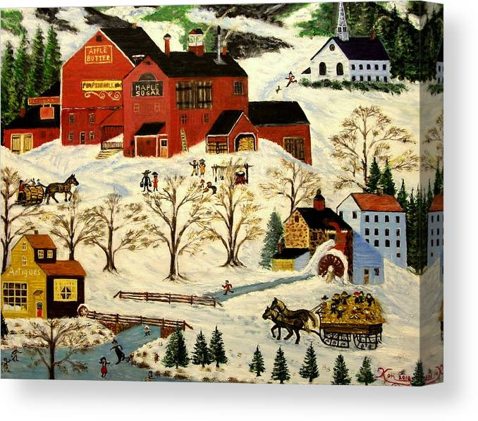 Folk Art Canvas Print featuring the painting Maple Syrup Factory by Kenneth LePoidevin