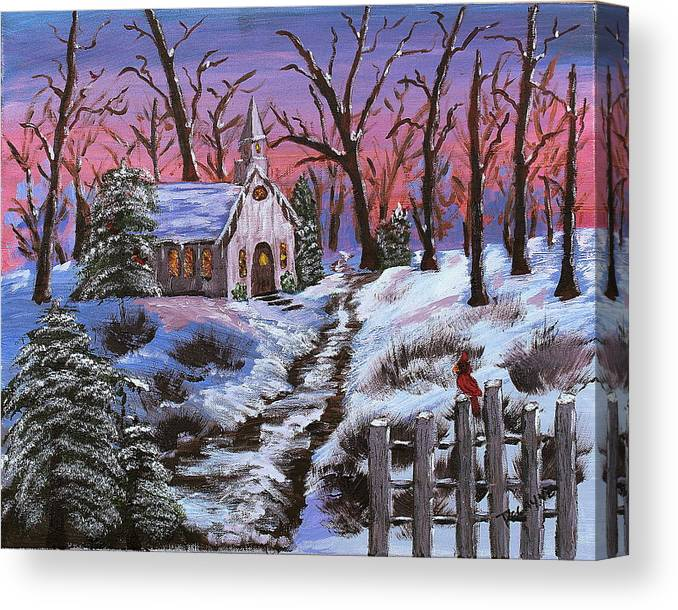 Christmas Canvas Print featuring the painting Merry Christmas by Margaret G Calenda