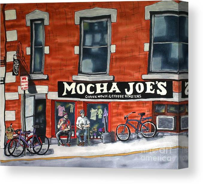 Silk Painting Canvas Print featuring the painting Mocha Joe's by Linda Marcille