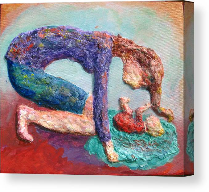 Mother And Child Bonding Canvas Print featuring the painting Mother Bonding IV by Naomi Gerrard