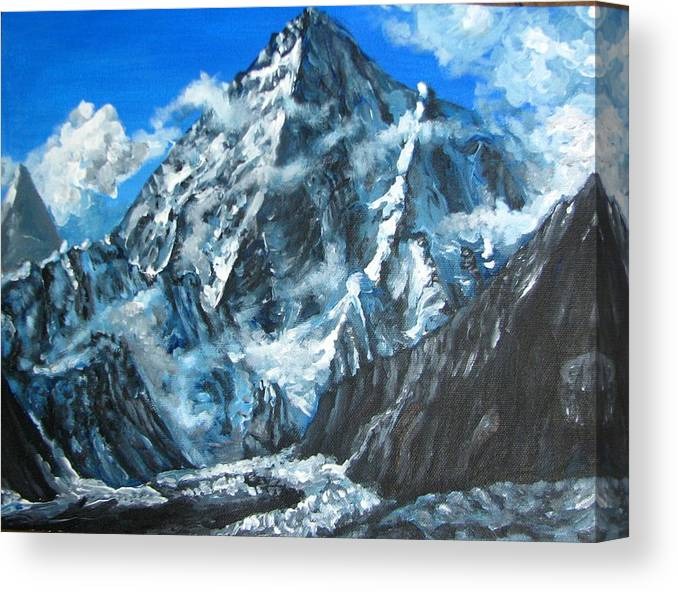 Mountains Canvas Print featuring the painting Mountains view landscape acrylic painting by Natalja Picugina