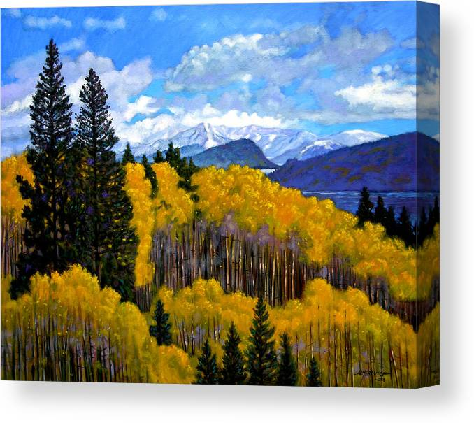 Fall Canvas Print featuring the painting Natures Patterns - Rocky Mountains by John Lautermilch