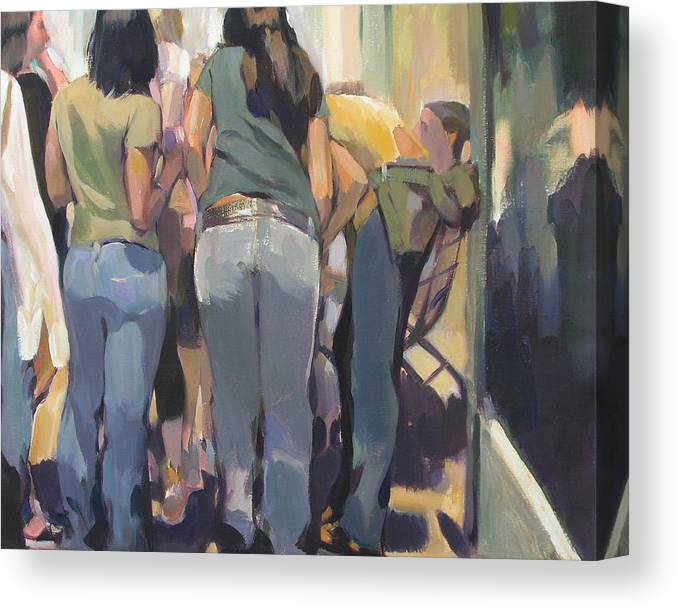 New York Cityscape Showing Teenagers On The Street Canvas Print featuring the painting New York Kids by Merle Keller