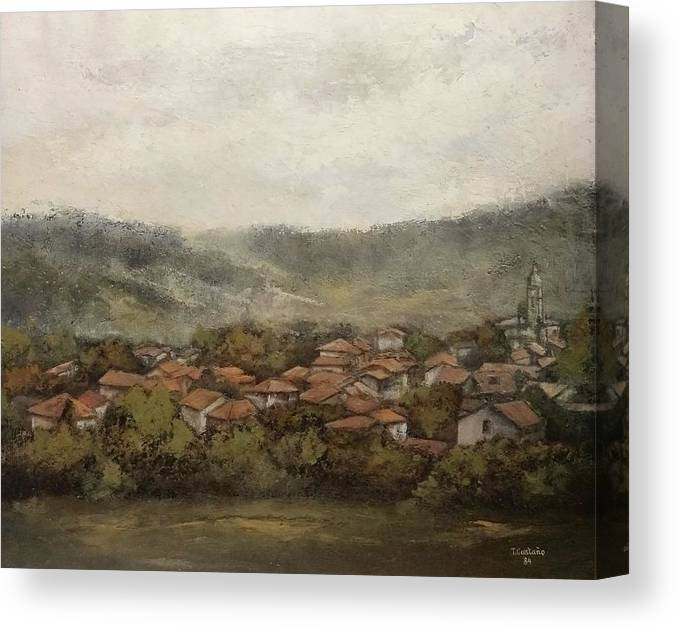 Cantabria Canvas Print featuring the painting Novales-Cantabria by Tomas Castano