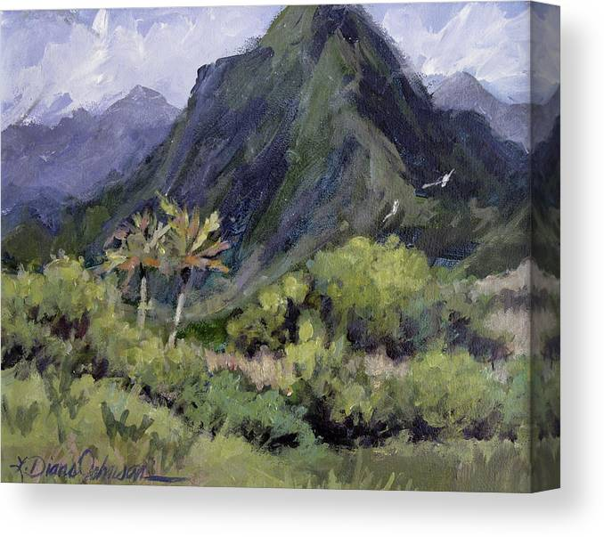 Hawaii Mountain Canvas Print featuring the painting Oahu Valley by L Diane Johnson