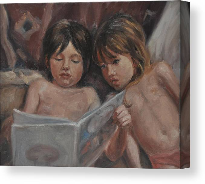 Children Canvas Print featuring the painting Once Upon a Time by Tahirih Goffic