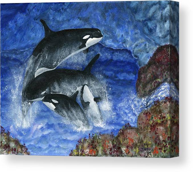 Killer Whales Canvas Print featuring the painting Orcas Family Frolicks by Tanna Lee M Wells