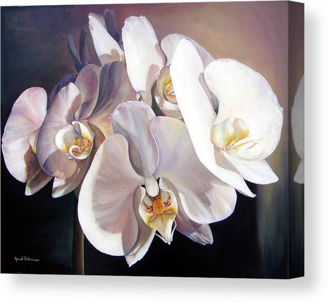 Floral Painting Canvas Print featuring the painting Orchidee by Muriel Dolemieux