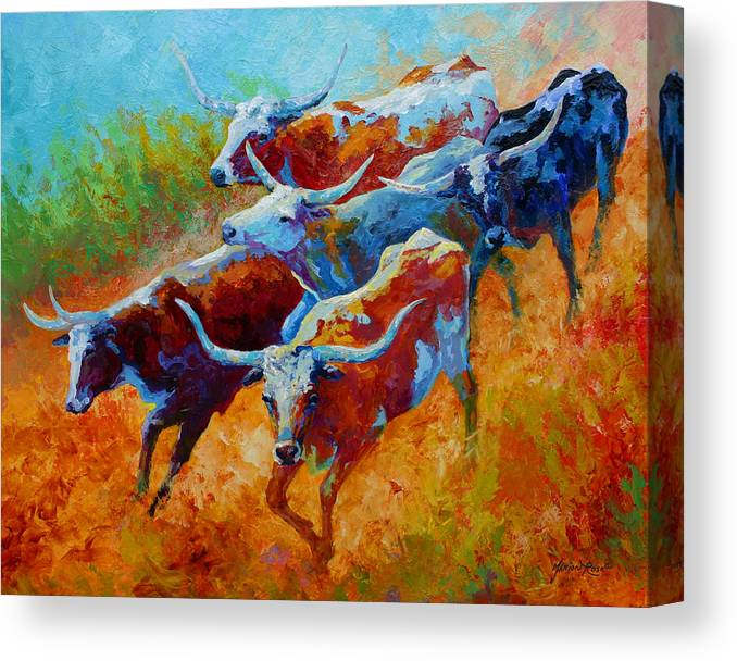 Western Canvas Print featuring the painting Over The Ridge - Longhorns by Marion Rose