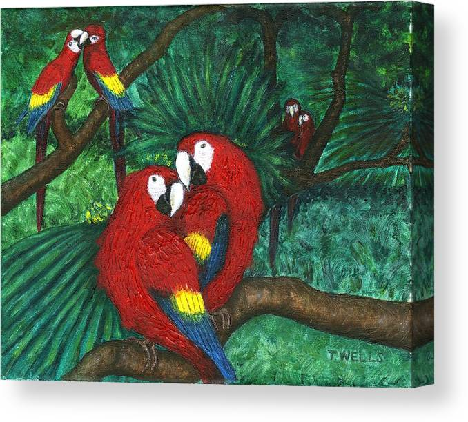Parrots Canvas Print featuring the painting Parrots Preening by Tanna Lee M Wells