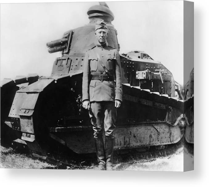 George Patton Canvas Print featuring the photograph Patton Beside a Renault Tank - WWI by War Is Hell Store