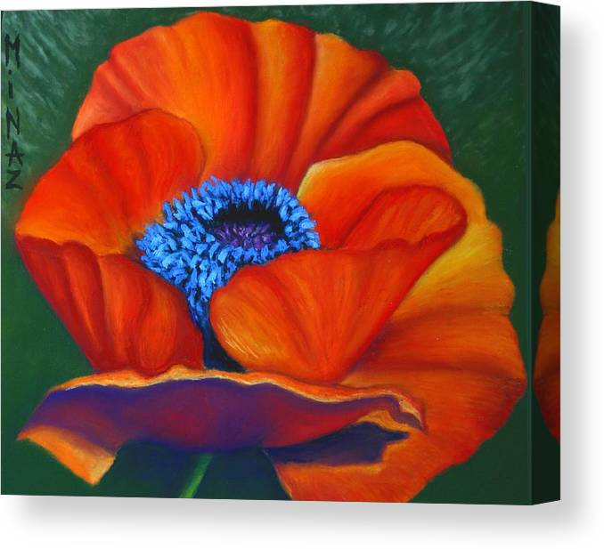 Red Flower Canvas Print featuring the painting Poppy Pleasure by Minaz Jantz