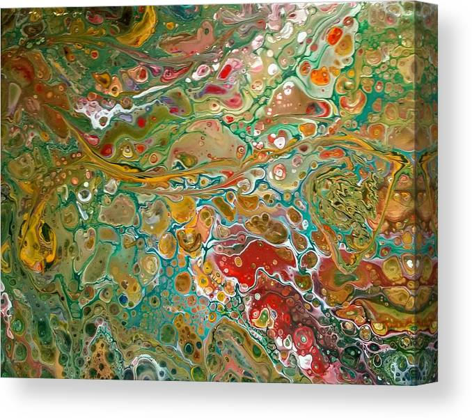 Pour Canvas Print featuring the painting Pour10 by Valerie Josi