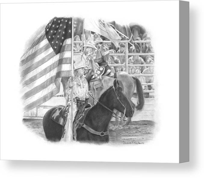 Rodeo Canvas Print featuring the drawing Pride by Douglas Kochanski
