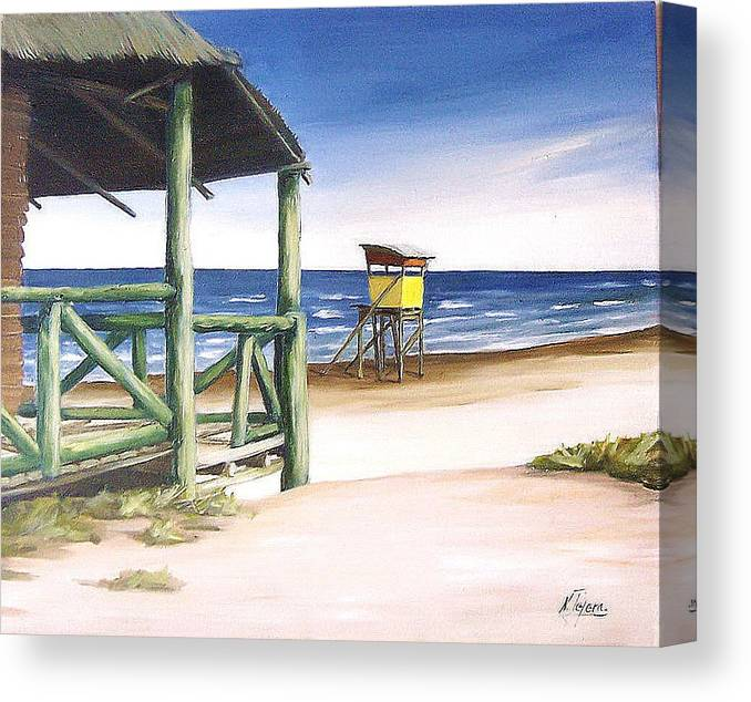 Seascape Beach Landscape Water Ocean Canvas Print featuring the painting Punta Del Diablo S Morning by Natalia Tejera