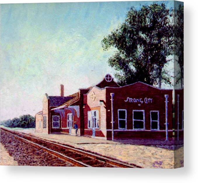 Original Oil On Wood Panel Canvas Print featuring the painting Railroad Station by Stan Hamilton