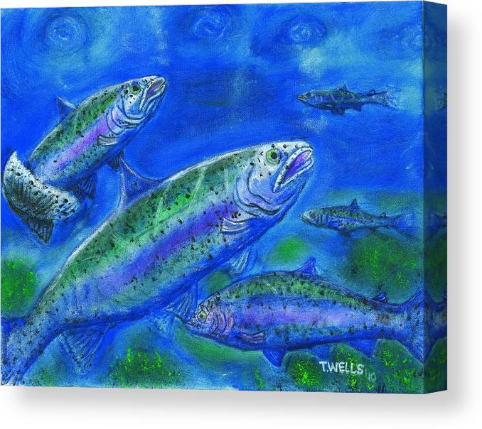 Rainbow Trout Canvas Print featuring the painting Rainbow Trout Swimming by Tanna Lee M Wells
