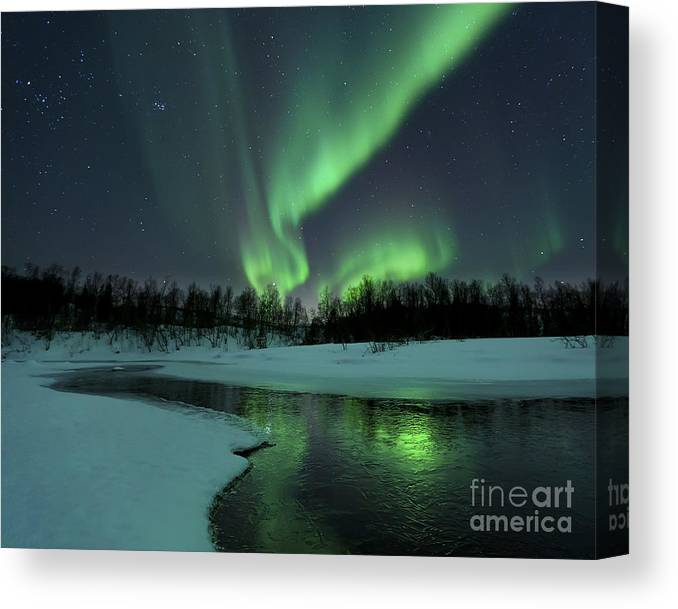 Green Canvas Print featuring the photograph Reflected Aurora Over A Frozen Laksa by Arild Heitmann