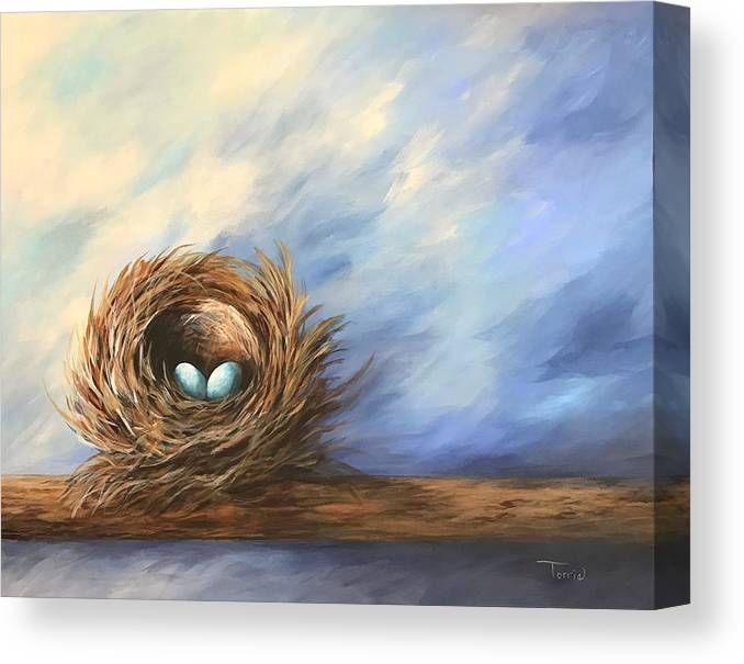Nest Canvas Print featuring the painting Robin's Two Eggs by Torrie Smiley
