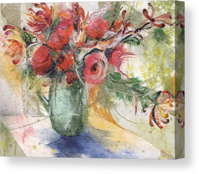 Red Roses Canvas Print featuring the painting Roses by Nira Schwartz