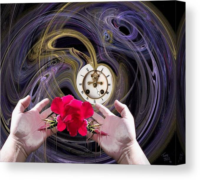 Surrealism Canvas Print featuring the digital art Running Out of Time by Tony Rodriguez