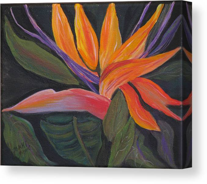Tropical Canvas Print featuring the painting Santa Barbara Bloom by Mikki Alhart