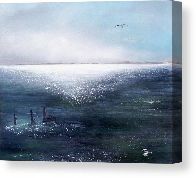 Seascape Canvas Print featuring the painting Sea of Glass by Tony Rodriguez