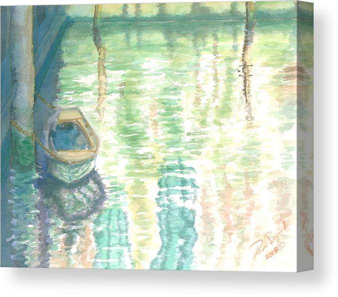 Boat Canvas Print featuring the painting Shadows and Reflections by Dan Bozich
