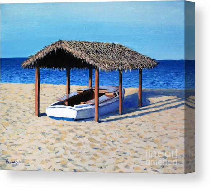 Boat Canvas Print featuring the painting Sheltered Boat by Paul Walsh