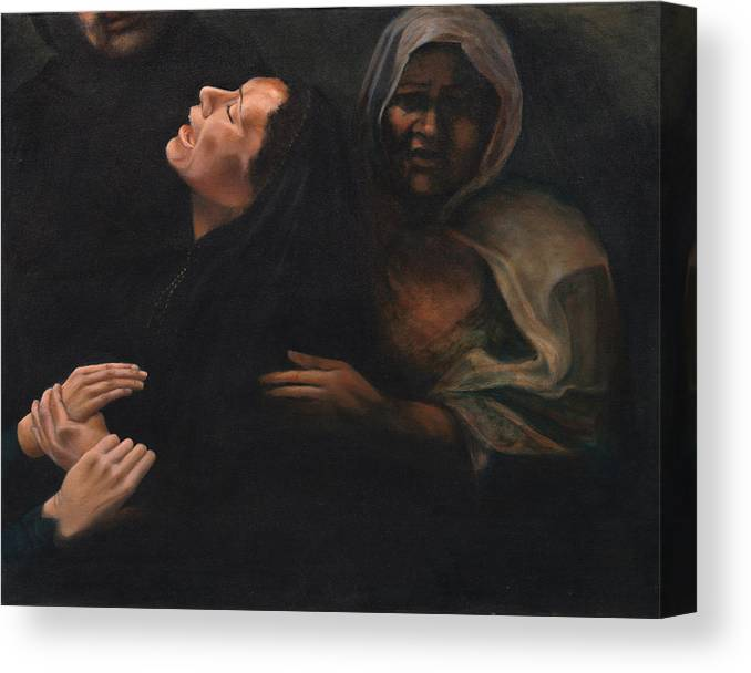 Women Canvas Print featuring the painting Shock and Awe by Nancy Ethiel
