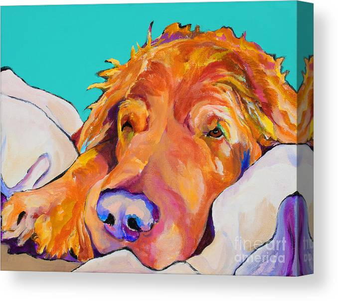 Dog Poortraits Canvas Print featuring the painting Snoozer King by Pat Saunders-White