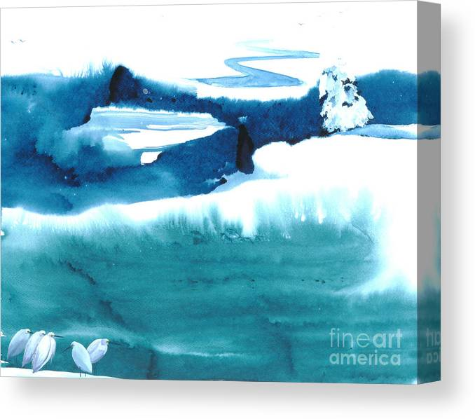 A Flock Of Snowy Egrets Standing In Snowy Country - A Watercolor Painting Canvas Print featuring the painting Snowy Egrets by Mui-Joo Wee